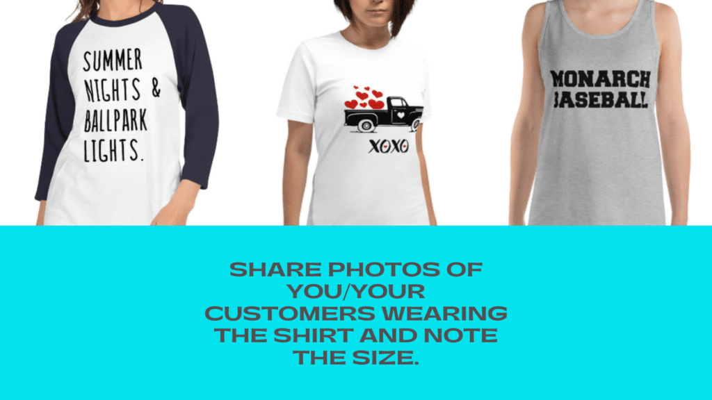 Photos of t-shirts for customers to see